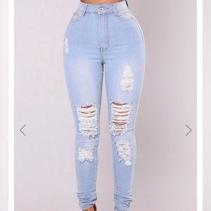 FashionNova High Waist Tempe Distressed Jeans